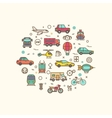 Vehicle and transport icons in circle design vector image vector image