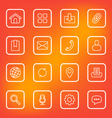 white line web icon set rounded rectangle vector image vector image