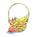 Wicker fruit basket vector image