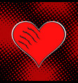 wounded love red heart on dark dot background pop vector image vector image