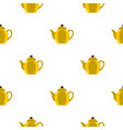 yellow teapot pattern seamless vector image