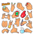 Hands Signs with Ok Victory Rock for Prints vector image