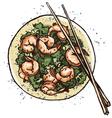 Prawn salad vector image