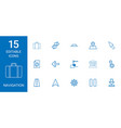 15 navigation icons vector image vector image