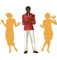 Afroamerican male party host with female guests vector image vector image