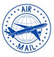 air mail blue emblem postal ink stamp vector image