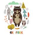 bear in scandinavian style vector image vector image