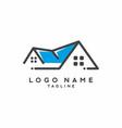 blue grey house real estate logo vector image vector image