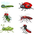 cartoon insect collection set vector image vector image