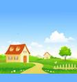 cartoon summer village vector image vector image