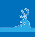 continuous line drawing of christmas reindeer vector image vector image