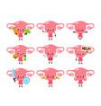 cute healthy happy women uterus organ vector image vector image