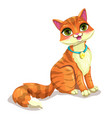 cute sitting striped ginger cat vector image vector image