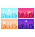 daytime cityscape panoramic urban landscape vector image vector image