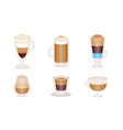 different types coffee cocktails with milk vector image vector image