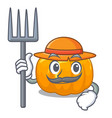 farmer yellow pumpkin above wooden mascot table vector image