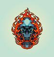 fire skull head mascot vector image vector image