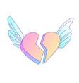 flying on angel wings broken heart cartoon vector image