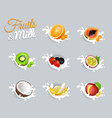 fruits and milk set vector image vector image