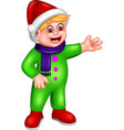 funny boy in green suit with red hat cartoon vector image vector image