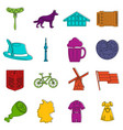 germany icons doodle set vector image vector image