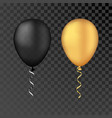 gold and black balloons on a transparent vector image