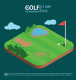 golf course isometric landscape hole with flag an vector image vector image