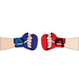 hand in red boxing glove and in blue body parts vector image vector image