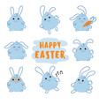 happy easter day bunny rabbit with carrot vector image