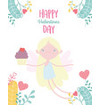 happy valentines day cute cupid with sweet vector image