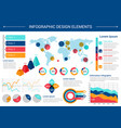 infographic elements design with world map charts vector image vector image