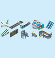 isometric airport elements set vector image vector image