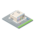 Isometric supermarket with car parking