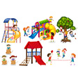Kids playing games and playing slides vector image vector image