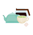 kitchen teapot and coffee drinks vector image vector image
