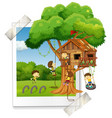 many children playing in treehouse vector image vector image