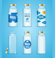 milk bottles drink set vector image vector image