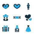 mothers day icon colored design concept set of 9 vector image vector image