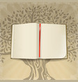 open book on retro background vector image vector image