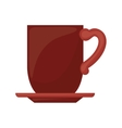 red dish porcelain with cup vector image vector image
