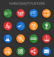 science 16 flat icons vector image