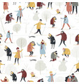 seamless pattern with people enjoying in vector image vector image