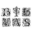 set decorative hand drawn initial letters vector image vector image