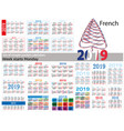 set of simple pocket calendars for 2019 two vector image vector image