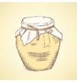 Sketch honey jar in vintage style vector image vector image