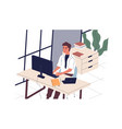 smiling man sitting at desk and working on vector image vector image