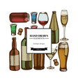square design with colored glass champagne mug vector image