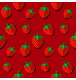 Strawberries on red background flat design vector image vector image