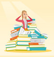 student sitting in huge pile of books vector image vector image