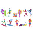 summer beach active happy young tiny people vector image